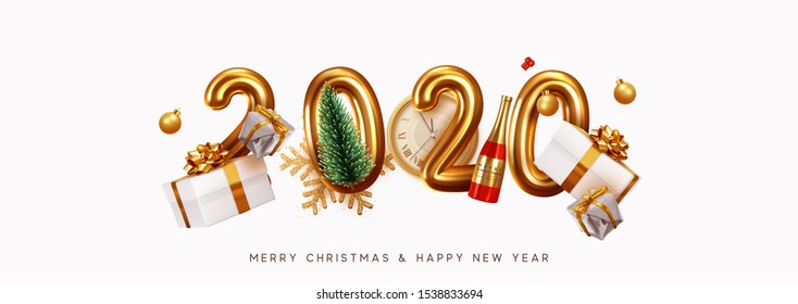 Happy New Year 2020. Golden metal number. Realistic 3d render sign. festive realistic decoration. Celebrate party 2020, Web Poster, banner, cover card, brochure, flyer, layout design. White background