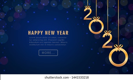 Happy New Year 2020 greeting card design with hanging golden numbers, glitter, bokeh. Holiday banner, poster, flyer, invitation template. Year of the rat. Copy space. Vector illustration