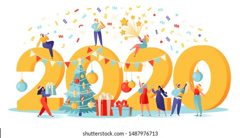 Happy New Year 2020 greeting card. Vector illustration with small people preparing for the party, that engaged in decorating. Happy people in santa hat toasting champagne with confetti.