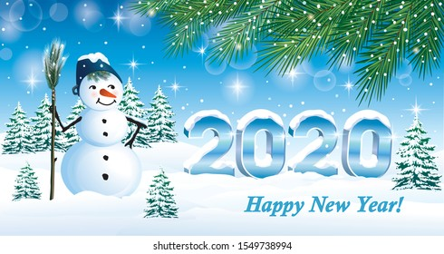 Happy New Year 2020. Greeting card with date 2020 and funny snowman on snowy winter landscape. Vector illustration