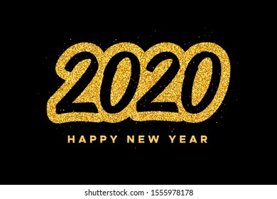 Happy New Year 2020 greeting card design template with gold text on black background. Calligraphy for Chinese Year of the Rat. Vector illustration