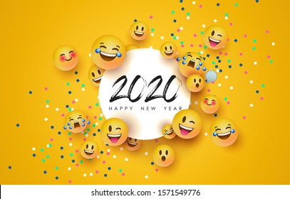 Happy New Year 2020 greeting card of funny 3d  yellow smiley face social icons and paper frame. Fun chat reaction emoticon for holiday party celebration.