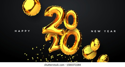 Happy New Year 2020 greeting card, realistic 3d gold balloons of calendar number date with golden party confetti on black background. Elegant eve event invitation or seasons greetings design.