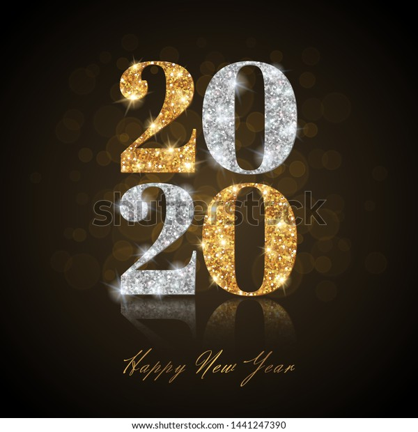 Merry Christmas Images In Gold And Silver 2020 Happy New Year 2020 Greeting Card Stock Vector (Royalty Free