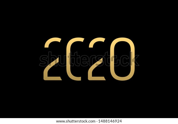 Happy New Year 2020 Greeting Card Stock Vector Royalty Free