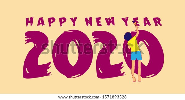 happy new year 2020 greeting card, banner and background template in eps10