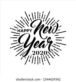 Happy New Year 2020 hand lettering
