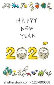 happy new year 2020 Hedgehog