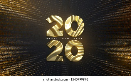 Happy New Year 2020. Holiday NYE event sign. Vector 3d illustration. Golden characters 2020 with wavy sculpted pattern. Shimmering background. Bursting backdrop with glitters. Festive banner design