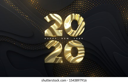Happy New Year 2020. Holiday NYE event sign. Vector 3d illustration. Golden characters 2020 with wavy sculpted pattern. Black papercut background. Backdrop with glitters. Festive banner design