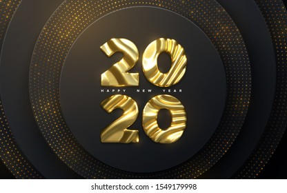 Happy New Year 2020. Holiday NYE event sign. Vector 3d illustration. Golden characters 2020 with wavy sculpted pattern. Black papercut background. Glittering backdrop. Festive banner design