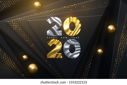 Happy New Year 2020. Holiday NYE event sign. Vector 3d illustration. Golden and silver numbers 2020 with wavy sculpted pattern. Black papercut background. Glittering backdrop. Festive banner design