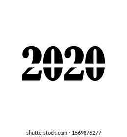 Happy new year 2020 icon logo vector in trendy design