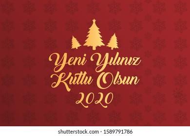 Happy New year 2020 Illustrator vector (Turkish speak: yeni yiliniz kutlu olsun)