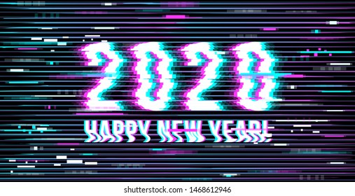 Happy New Year 2020. inscription in a distorted glitch style on a black background. Design element for event advertising, branding, shares, promotion. Vector illustration.