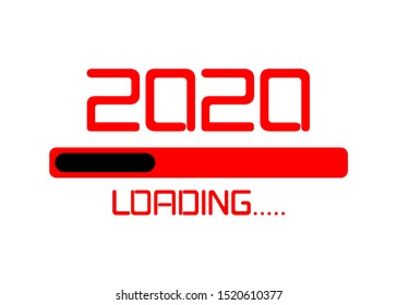 Happy new year 2020 with loading icon flat red neon style. Digital led Progress bar almost reaching new year's eve. Vector illustration with 2020 loading. Isolated or white background