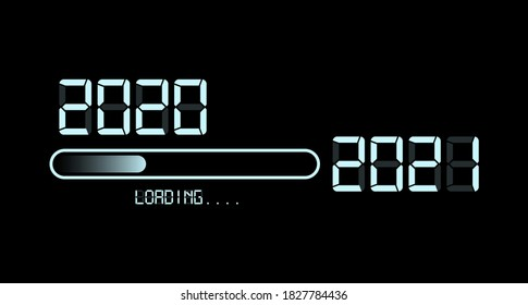 Happy new year 2020 with loading to up 2021. White led neon sign digital time style. Progress bar almost reaching new year's eve. Vector illustration display 2021 loading isolated or black background