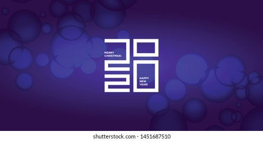 Happy New Year 2020 logo text design. Vector modern minimalistic text with numbers. Concept design. Christmas background with blur, boken, light, glare effects, stars, snowflakes, snow.