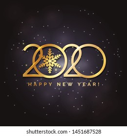 Happy New Year 2020 logo text design. Concept design. Vector modern illustration of gold text. Golden luxury inscription. Christmas background with blur, glare, stars, snowflakes, snow.