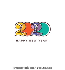 Happy New Year 2020 logo text design. Logotype of the year. Vector modern minimalistic text with colorful numbers. Conceptual cheerful youth bright explosive design. Emblem for card print social media