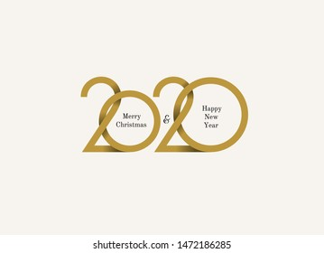 Happy New Year 2020 logo text design. Merry Christmas Cover of business diary for 2020 with wishes. Brochure design template, card, banner. Vector illustration. Isolated on white background.