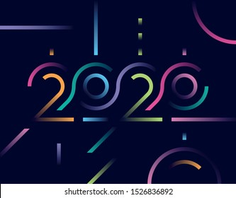 Happy New Year 2020 logo text design with a gradient