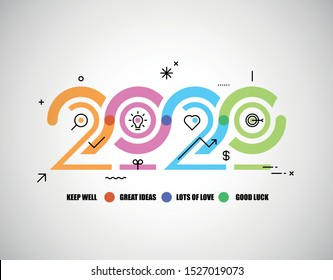 Happy New Year 2020 logo text design with icons