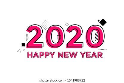 Happy New Year 2020 with memphis style and flat design. Twenty Twenty
