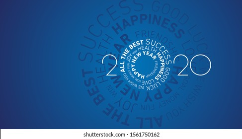 Happy New Year 2020 modern circle word cloud text white blue vector