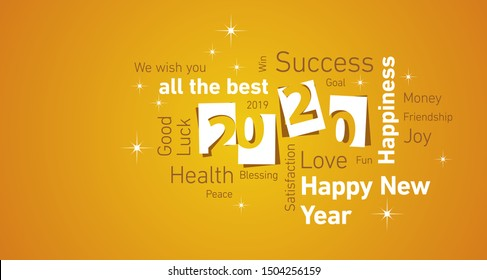 Happy New Year 2020 negative space cloud text white orange yellow vector