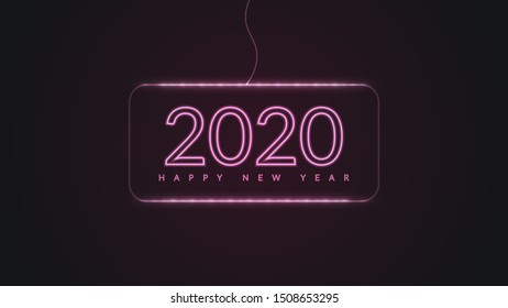 Happy New Year 2020. Neon Glowing Design in Dark Background. Vector New Year Holiday Illustration.