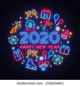 Happy New Year 2020 neon icons set vector. Merry Christmas collection neon signs. Bright sign boards, light banner. Modern trend design, night light signboard, emblems, design template. Vector