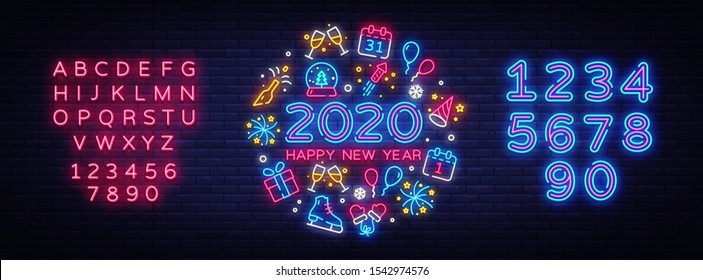 Happy New Year 2020 neon icons set vector. Merry Christmas collection neon signs. Bright sign boards, light banner. Modern trend design, night light signboard, emblems. Vector. Editing text neon sign.