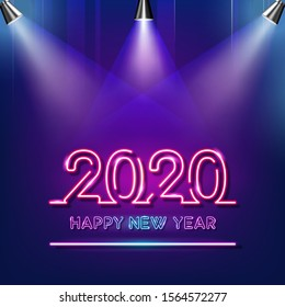 Happy New Year 2020 neon text with spotlights on purple and blue background.Vector Illustration