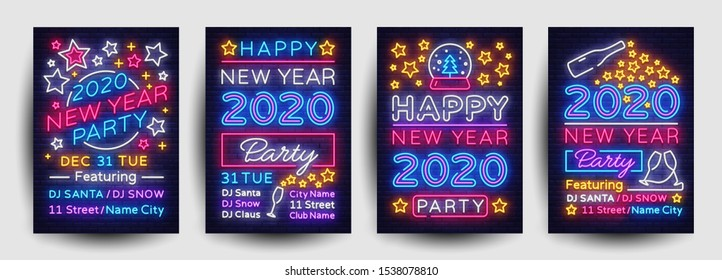 Happy New Year 2020 Party Poster collection neon vector. New Year 2020 celebration design invintation template, Christmas celebration bright neon brochure, typography invitation. Vector.