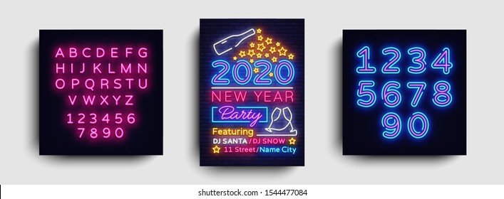 Happy New Year 2020 Party Neon Poster Vector. New year Party neon invitation, design template, modern trend design, Christmas celebretion, light banner, light art. Vector. Editing text neon sign