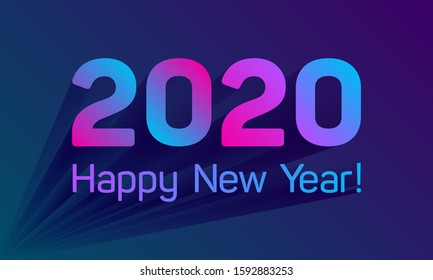 Happy New Year 2020 pink blue purple violet card. Colorful text design with trendy gradients for holiday greeting card and invitations. Vector illustration. 2020 number, Happy New Year card banner.
