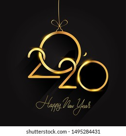 Happy New Year 2020 - New Year Shining background, text design gold colored, vector elements for calendar and greeting card.