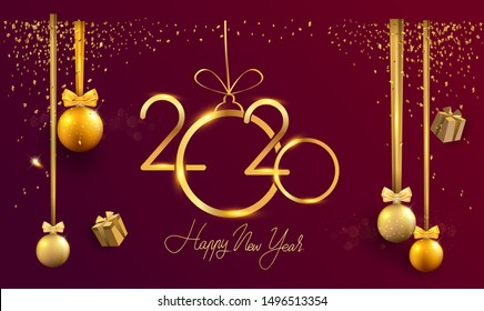 Happy New Year 2020 - New Year Shining background with gold clock and glitter, elegant design.