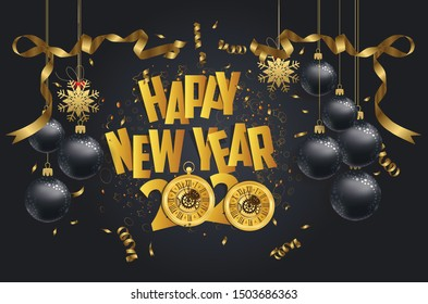 Happy New Year 2020 - New Year Shining background with gold clock and balls