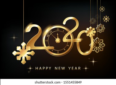 Happy New Year 2020 - New Year, shining background with gold watches and glitter.Creative. Black background. Smartphone laptop, stars.Futuristic snowflakes design. Banner, poster, numbers, cover, text