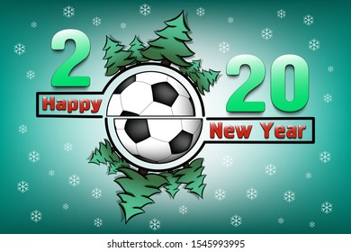 Happy new year 2020 and soccer ball with Christmas trees on an snowflakes background. Creative design pattern for greeting card, banner, poster, flyer, party invitation, calendar. Vector illustration