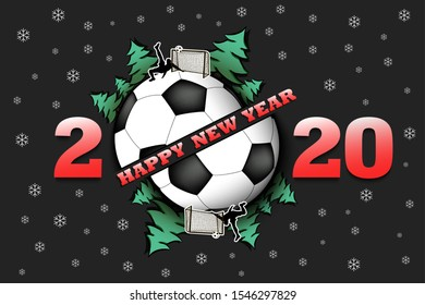 Happy new year 2020 and soccer ball with Christmas trees on an isolated background. Football player scores a goal. Design pattern for greeting card. Vector illustration