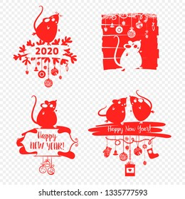 Happy new year 2020. Template banner, poster, flyer image for Happy new year party with rat, mice. Lunar horoscope sign mouse. Funny sketch mouse with long tail. Vector illustration.