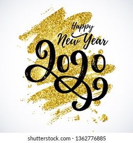 Happy New Year 2020 text, vector card design. Hand drawn lettering with golden glitter background.