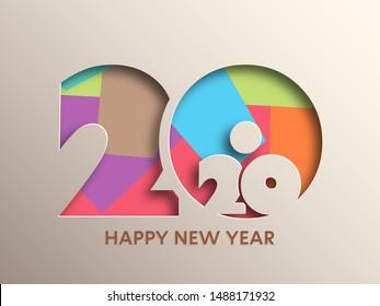 Happy new year 2020 Text Design vector.