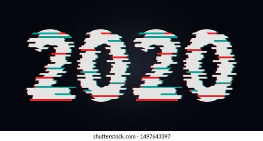 Happy New Year 2020 Text Design glitch, Vector illustration.