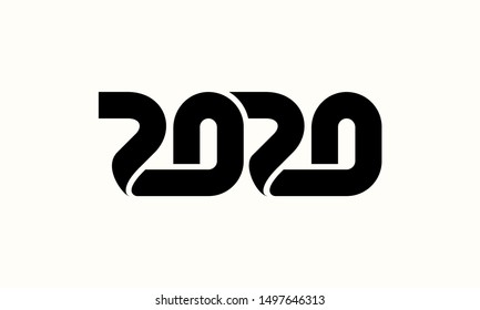 Happy New Year 2020 Text Design Lettering, Vector illustration.