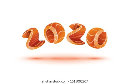 Happy New Year 2020 text design. Salmon style numbers for sushi calendar background.