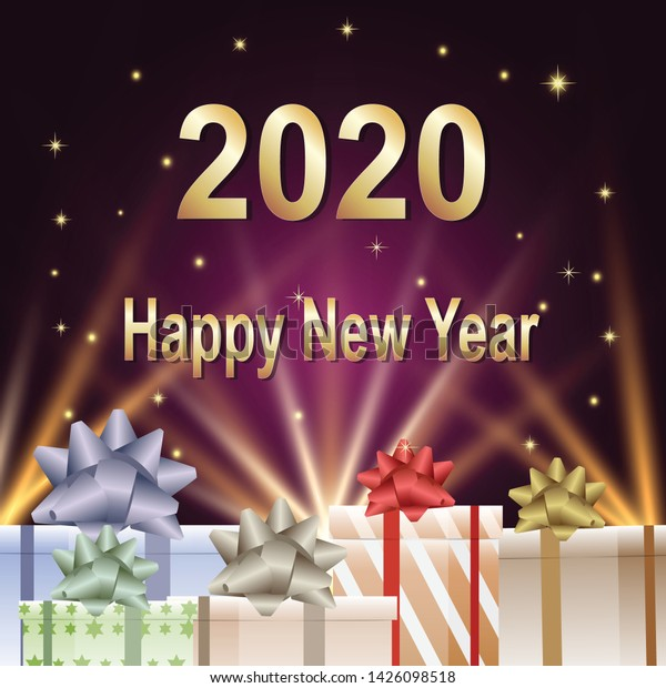 Happy New Year 2020 Text Gift Stock Image Download Now